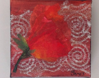 "Red Poppy collage, 6""x6"" acrylic.by Sharon James"