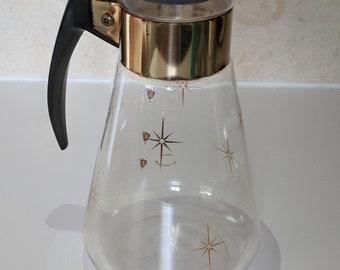 Corning Gold Starburst Atomic Star Glass Decanter Maxwell House Coffee Promo