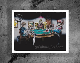 "Nintendo Poker (8.5""x11"") - Digital Fine Art Print - Colored Pencil Illustration /Nintendo, Link, Zelda, Mario, Kirby, Metroid, Samus, Fox/"
