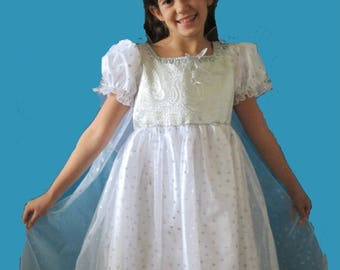 Snow Fairy Princess costume, tiaraand attached sheer cape size 4-5