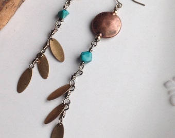 Tribal Earrings, Long Earrings, Copper and Brass, Turquoise, Wood Beads, Ethnic Earrings, Etsy, Etsy Jewelry