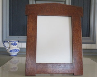 """Arts & Crafts Mission Style 8"""" X 10"""" Arched Picture Frame White Oak Handcrafted Handmade"""