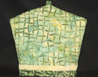 Green Bamboo Stick Batik Tea Cozy, Coffee Cozy & French Press Cozy Quilt