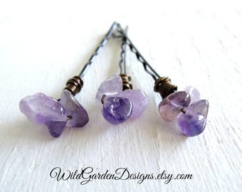 Purple Amethyst Nugget Hair Pins Decorative Hair Pins Rustic Boho Hair Pins Bohemian Wedding Hair Accessory Natural Stone Set of 3 Hair Pins