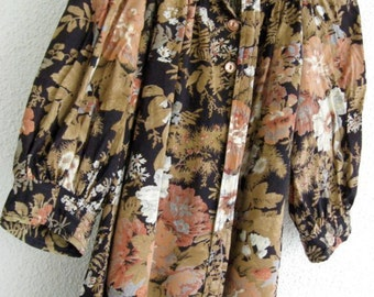 70s Dolly Kei Peasant Dress - Vintage Young Edwardian By Arpeja - Midnight Garden Dark Forest Folk Floral - Grunge Revival S / M