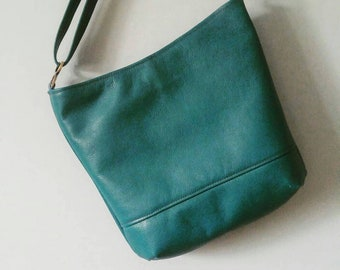 """Gorgeous Teal Leather """"Sway"""" Crossbody Tote Bag,  Genuine Leather, Bucket Bag, Canadian Made, 1867Shop"""