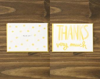 box of 8 variety polka dot yellow thank you blank card