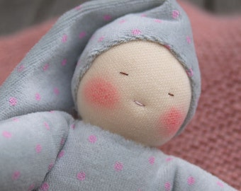 First Waldorf doll, cuddle doll, grey and pink