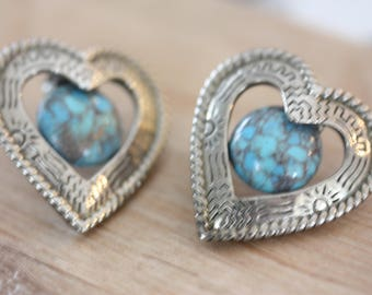 Native-American-Style vintage silver & faux turquoise heart earrings