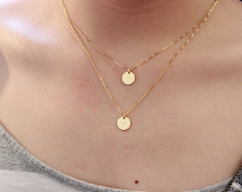 initial necklace, two initial necklace, letter necklace, layered necklace dainty gold necklace delicate necklace gift for mom, sister gift,