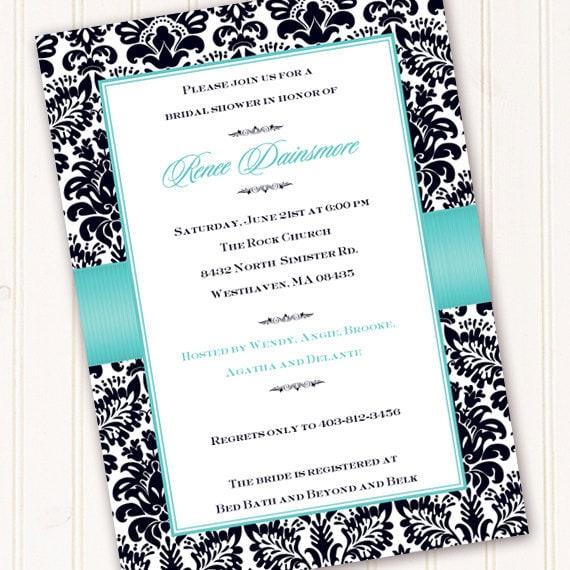 bridal shower invitations, wedding shower invitations, thank you cards, turquoise bridal shower invitation, recipe exchange, IN157