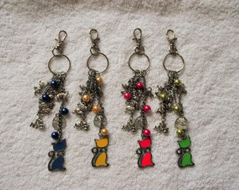 CAT LOVERS Kitten Kitty Themed Multi-Charm Keyring Keychain Handbag Charm 6 Colours