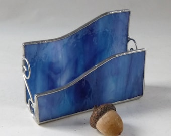 Stained glass business card holder - blue textured glass, silver finish/patina, gifts under 25, new business gift, desk organizer, coworker