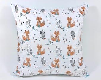 Cushion cover 40 x 40 cm - Fox and cactus Motif. Cotton and confetti