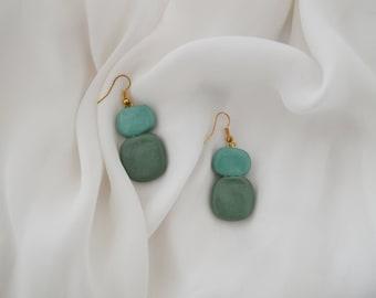Two Tone Clay Drop Earrings