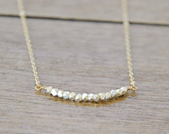 Silver and Gold Nugget Necklace / Sterling and Gold Filled / Simple everyday modern jewelry