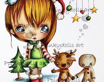 INSTANT DOWNLOAD Digital Digi Stamps..by Chrishanthi's art,Christmas dance''.