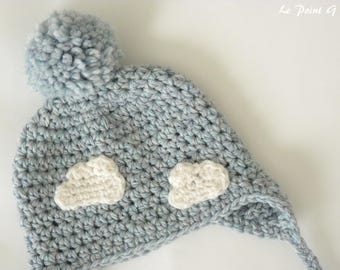 Cloud beanie hat for baby (0-3 month) / earflap hat / earflap beanie / baby hat / baby beanie / newborn beanie / cloud / baby accessories