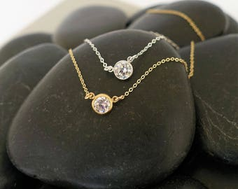 CZ Necklace + Sterling Silver Necklace + Bezel Necklace + CZ Choker + Adjustable Necklace + Choker + Bridesmaid Gift + Delicate Necklace