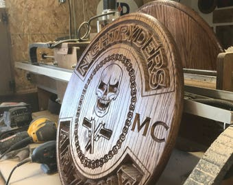 "22"" across MC Motorcycle Club Plaque - Oak"