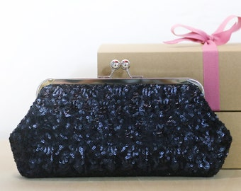 Metallic Dark Navy Blue Sequins Tulle Clutch | Bridesmaids | Mother's Clutch