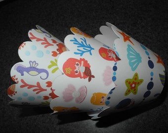 Mermaid Cupcake Wrappers  Set of 12  Sea Bubbles
