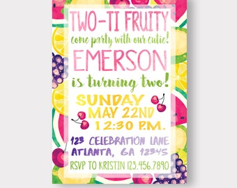 TWO TI FRUITY | Tutti Frutti | Fruit Birthday Invitation | Watermelon | Strawberry | Farmers Market Invitation | Pool Party Invitation