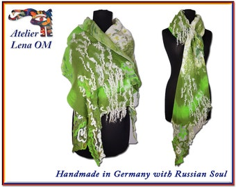 Original extraordinary bright green lime olive white nuno felted scarf, merino wool asymmetric wrap, modish stylish unique ooak piece