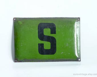 "Vintage 12"" Green Enamel Sign / Industrial Metal Sign / Letter S"