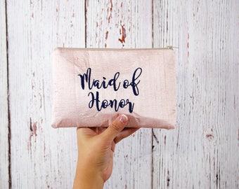 Pink Silk Clutch- Bridesmaid Clutch- Bridesmaid Gift- Clutch Bag- Pink Clutch - Bridesmaid Proposal- Bridal Clutch- Maid of Honor Gift