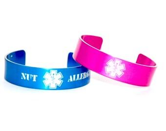 Kids Medical ID Bracelet / Kids Allergy Bracelet / Kids Medial Alert Bracelet / Tree Nut Allergy / Peanut Allergy / Kid Allergic Alert