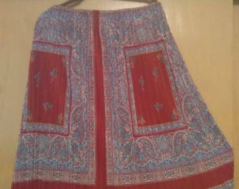 70s Sheer Paisley Boho Chic Pleated Skirt