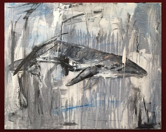 Watchful Eye - Whale Original Art- Painting and Mixed Media - Medium