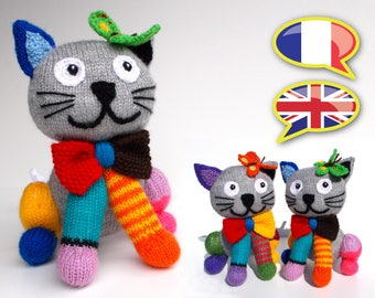 knitting pattern cat, multicolored cat, plush, toy, amigurumi