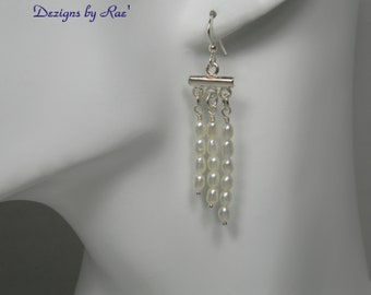 Freshwater Pearl Earrings,  Cultured Freshwater Pearl Earrings, Wedding Earrings