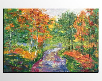 Oil Painting Landscape,  Original Oil Painting, Autumn Tree Painting, Abstract Art, Canvas Artwork, Wall Art, Canvas Painting, Large Art
