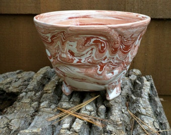 Terracotta Soup / Cereal Bowl: Hand Carved, Red Terracotta & White Earthenware Clay, Clear Glaze, Spirals, Wheel Thrown, Tripod Feet (b30)