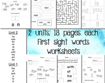 Kindergarten Readiness Sight words worksheets, 2 PDFs, 36 pages of worksheets. Summer school. Home school. Teacher resources.