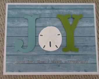 JOIE Wall Decor WORD Art - Jésus tout d'abord, d'autres en second lieu, vous durent - Aqua, vert & blanc