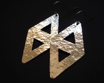 Cut Out Hand Hammered Silver Earrings Sterling Silver Hooks Geometric Dangle Handcrafted Wedding Gift Metalwork Handmade Greek Jewelry