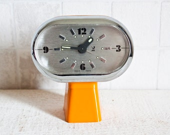RARE Gorgeous Vintage French JAZ Alarm Clock Orange || 70's Retro/ Mid Century - Bright Color Pop oval clock