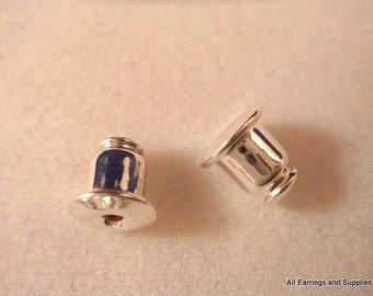 24 Silver Earring Backs Earnut Plated Barrel Type - 24 pc - 1151-2