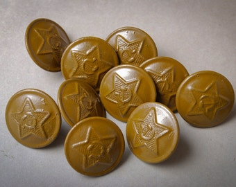 Set of 10 vintage Soviet Russian Army uniform buttons. Field form buttons