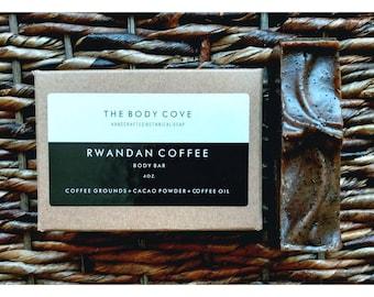 Rwandan Coffee Body Bar - All natural soap, Handmade soap, Vegan soap, Cold process soap, Essential oil soap, Bar soap, Exfoliating soap