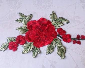 x 1 applique lace guipure-fine floral red lace n ° 22