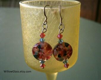 Glass Earrings in Bits Of Frit, Lampworked Glass Earrings, Glass Jewelry, Willow Glass, OOAK