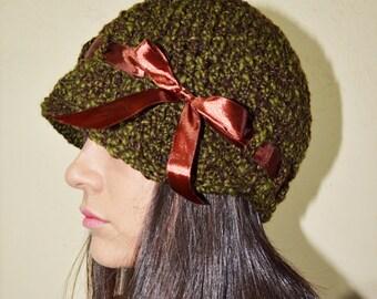 Newsboy brim hat with ribbon - GREEN/CHOCOLAT - womens teen girls - accessories - gift