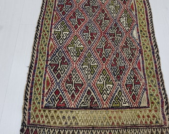 1'8'X2'7' Embroidery Kilim Rug Doormat Rug Small Oushak Rug Vintage Turkish Rug, Colorful Rug Small Oushak Rug, Kitchen RUG Embroidery Kilim