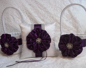 Two White Flower Girl Baskets and matching Ring Bearer Pillow with Plum Satin Trim and Rhinestone Mesh handle and Trim