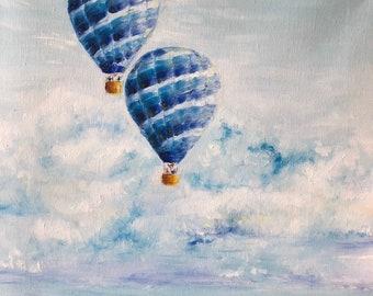 Hot Air Balloon Art, oil painting, Balloon, Sky High, Over the Sea, Blue Hot Air Balloon Art